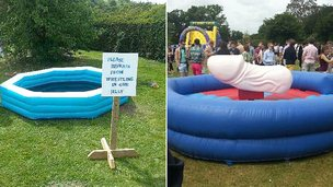 Paddling pools at student party