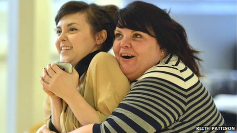 Evelyn Hoskins and Rachel Lumberg in rehearsals for This Is My Family