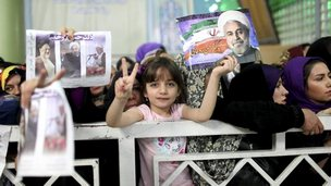 Iranian supporters of Hassan Rouhani (16/06/13)