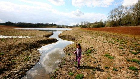 A dry Bewl Water Reservoir near Lamberhurst, Kent
