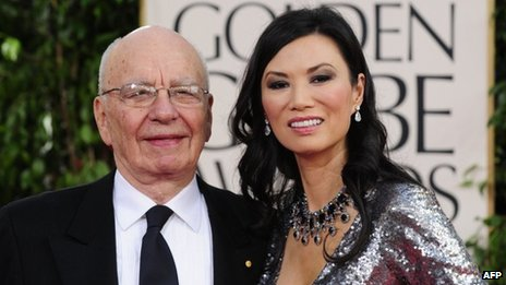 Rupert Murdoch and Wendi Deng at the Golden Globe awards at the Beverly Hilton Hotel in Beverly Hills, California, on 16 January 2011