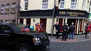 In a surprise move, President Obama and David Cameron drove through Enniskillen