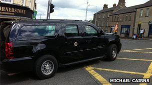 Local people were surprised to see the US president waving at them as he drove into Enniskillen