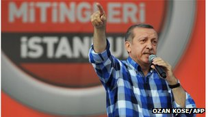 Turkish Prime Minister Recep Tayyip Erdogan makes a speech to supporters during a rally on June 16, 2013, in Istanbul