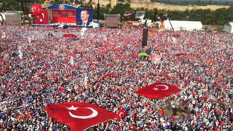 Large crowd gather to hear PM Erdogan speak, Istanbul 16 June 2013