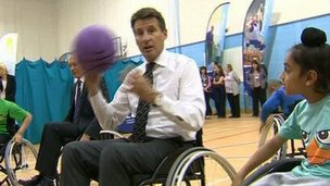 Lord Coe playing wheelchair basketball