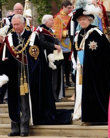 The Prince of Wales and The Queen attend the Order Of The Garter Service