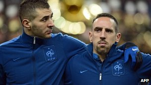 Karim Benzema (left) and Franck Ribery (right) at a France match at the Stade de France in Paris (6 February 2013)