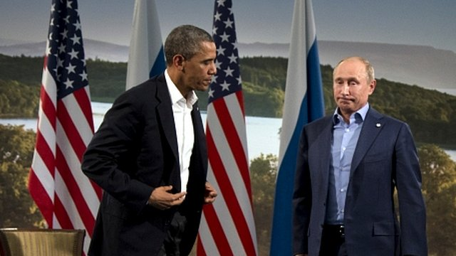 President Barack Obama and President Vladimir Putin leave their news conference