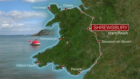Graphic showing route of round Wales dinghy journey