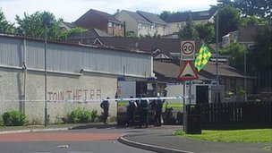 Police sealed off the scene of the alert in Strabane