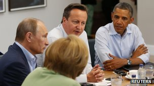Angela Merkel, Vladimir Putin, David Cameron and Barack Obama attend working session of the G8 summit