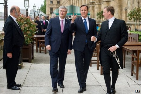 David Cameron and his Canadian counterpart at the House of Commens