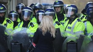 Police kettle at tuition fees protest