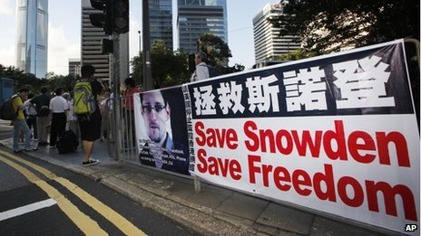 Poster in Hong Kong supporting Edward Snowden