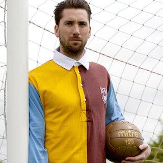 Derby captain Shaun Barker in a vintage football kit