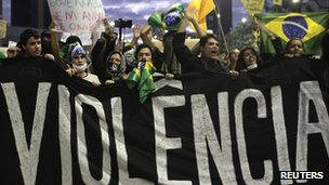 Protesters in Sao Paulo