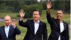 From left to right: Vladimir Putin, David Cameron and Barack Obama wage for the cameras