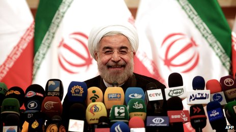 Hassan Rouhani at a news conference on 17 June 2013
