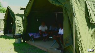 Army tent with asylum seekers, Nauru