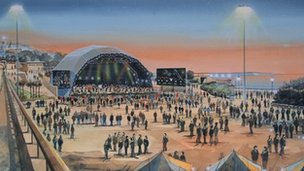 An artist's impression of the Bournemouth waterfront events space