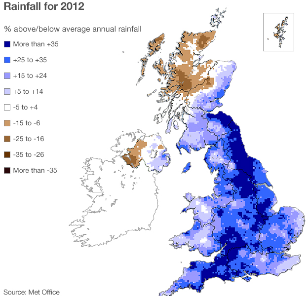 Map showing rainfall across the UK in 2012 against the 30-year average.