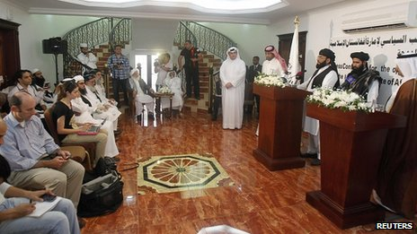Taliban spokesman Mohammed Naeem, second right, at opening of Doha office. 18 June 2013