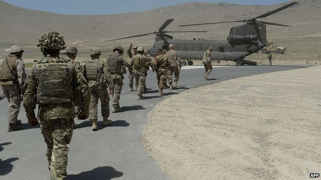Soldiers boarding a helicopter in Kabul, Afghanistan