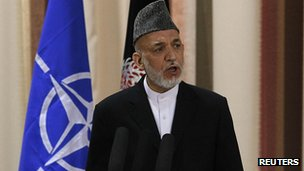 Hamid Karzai at security handover ceremony. 18 June 2013