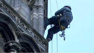 Abseilers on Lincoln Cathedral