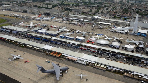 Aerial shot of the Paris Air Show