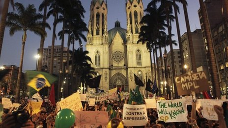 Demonstrators gather in the Praca da Se square in Sao Paulo