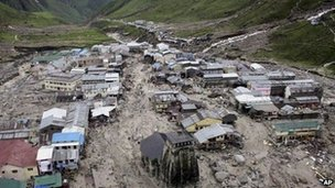 A view of the Hindu holy town of Kedarnath from a helicopter after a flood, in the northern Indian state of Uttarakhand, India, Tuesday, June 18, 2013