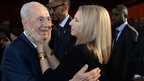 Israeli President Shimon Peres and singer Barbara Streisand, 18 June 2013