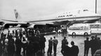 A Pan Am Boeing 747 is seen just after landing at London's Heathrow airport, on 21 January  1970 after its first commercial flight.