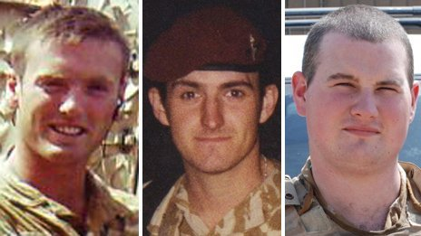 Pte Phillip Hewett, Pte Lee Ellis and Lance Cpl Kirk Redpath