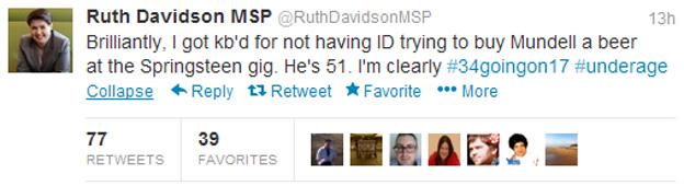 Ruth Davidson Twitter message