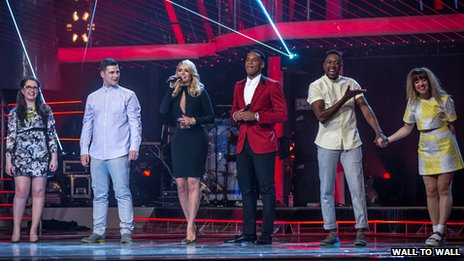 Finalists Andrea Begley, Mike Ward, Matt Henry, Leah McFall line up beside presenters Holly Willoughby and Reggie Yates