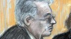 Court artist sketch of Ian Brady at mental health tribunal