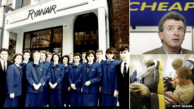 Ryanair family photo, O'Leary and a Ryanair interior
