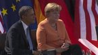 US President Barack Obama and German Chancellor Angela Merkel in Berlin (19 June 2013)