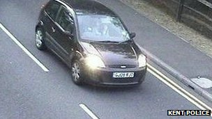 CCTV image of Jeremy Forrest's black Ford Fiesta being driven to Dover