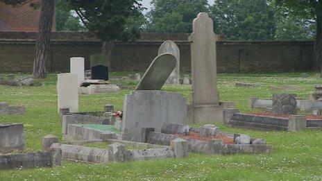 Damaged graves