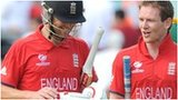 Jonathan Trott and Eoin Morgan celebrate England's victory