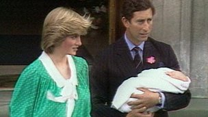 Prince William with his parents, Princess Diana and Prince Charles