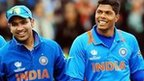 India players celebrate with Umesh Yadav (right)