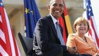 US President Barack Obama and German Chancellor Angela Merkel in Berlin