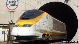 Eurostar train exiting Eurotunnel's Channel Tunnel