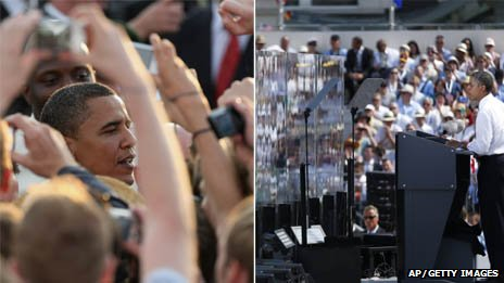 Composite photo of Barack Obama in Berlin 2008 and 2013