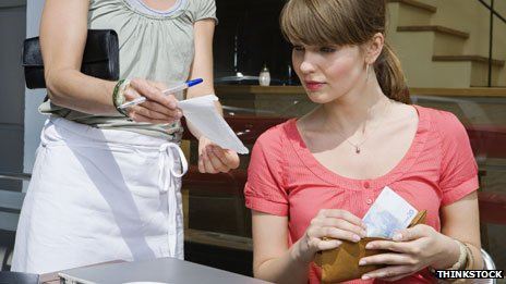 Woman paying restaurant bill